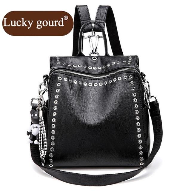 53f9923472f3 OURCIAO новая сумка летняя версия женский рюкзак модный креативный заклепки  двойная сумка Повседневная Backpac женская сумка