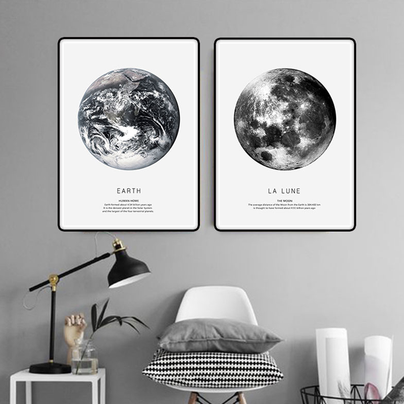 Earth mars cuadros nordic poster canvas art wall prints for Black and white mural prints