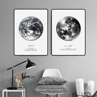 Earth Mars Cuadros Nordic Poster Canvas Art Wall Prints Abstract Painting Black And White Home Decor