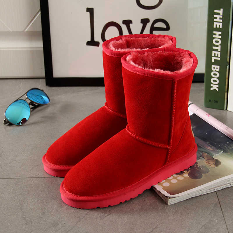 Begocool fashion snow boots for women 100% genuine cow suede australia warm winter boots woman shoes red