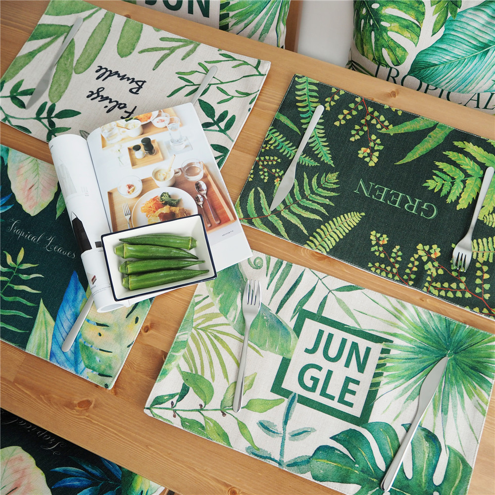 Placemat Dining Table Coasters Jungle Meal Time Home Garden Green Leaves Plants Cotton Fabric Square Cloth Table Desgin Mat