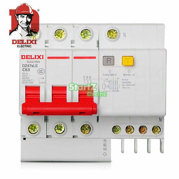 63A 3P 3P+N RCBO RCD Circuit Breaker DE47LE DELIXI new ezd100e 3p 80a ezd100e3080n plastic breaker