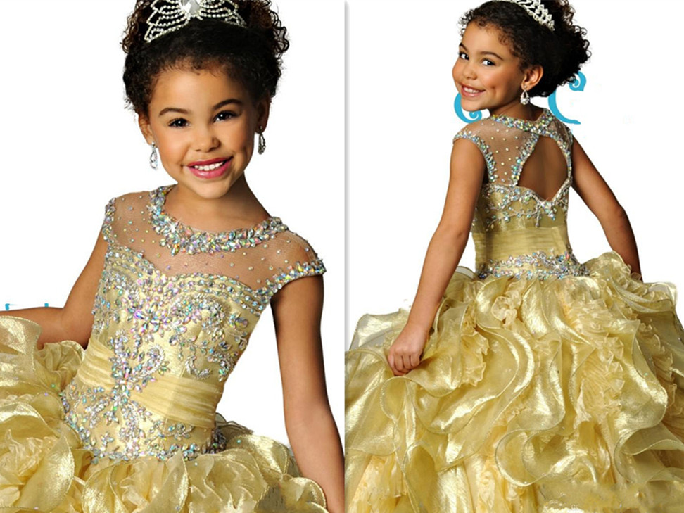 Famous Sheer Crew Neckline Organza Beaded Crystal Backless Ruched Girls Pageant Dresses Formal Kids Wear очиститель воздуха electrolux ehaw 9015d mini