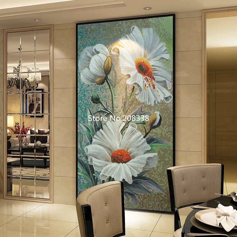 Стеклянная мозаичная роспись для декора стен мозаика из стекла Rosa laevigata Цветочные художественные плитки - 2