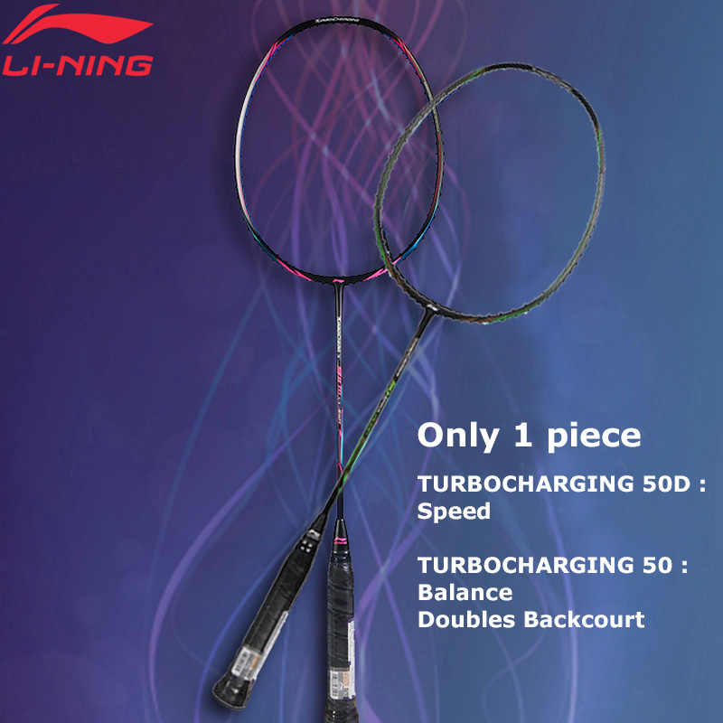 Li-Ning Turbo Charging 50/50D Badminton Rackets Single Racket LiNing Professional Sport Racket AYPM316(AYPM408)/AYPP036 ZYF241