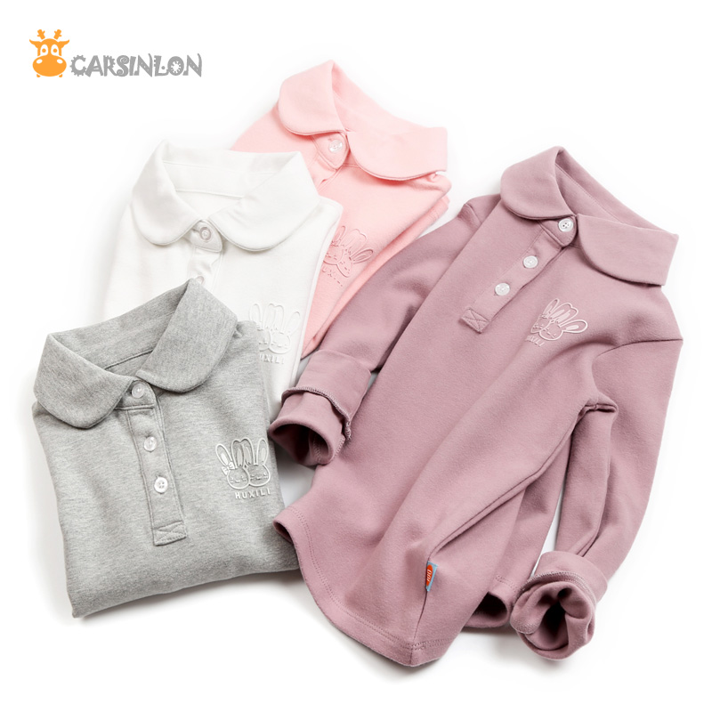 1b7a2cd3b 2018 Autumn Winter New High Quality Girls Polo Shirts Long Sleeved Cotton  Thick Peter-Pan Collar Kids Polo Shirt Tops White