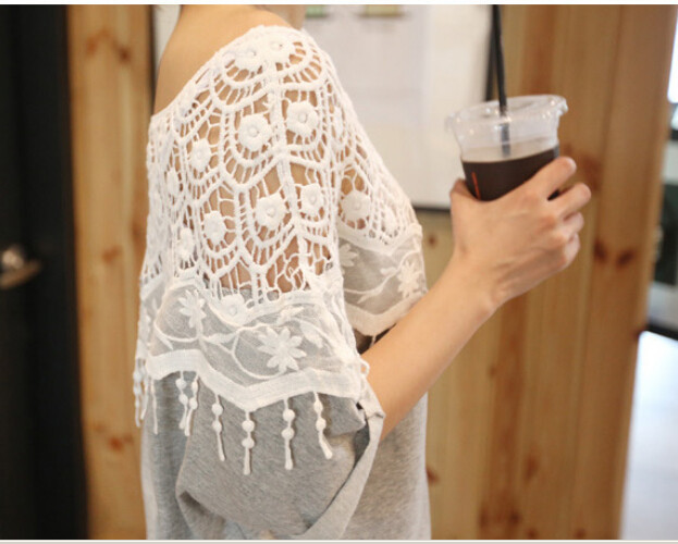 plus large size summer new women 39 s sweet lace crochet bat shirt short sleeved round neck bat sleeve T shirt thin influx of women in T Shirts from Women 39 s Clothing