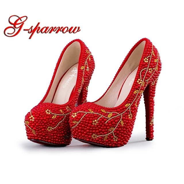 6c1cafd0508 2018 Spring Summer Wedding Shoes Red Color High Heel Bridal Dress Shoes  Handmade Female Graduation Party