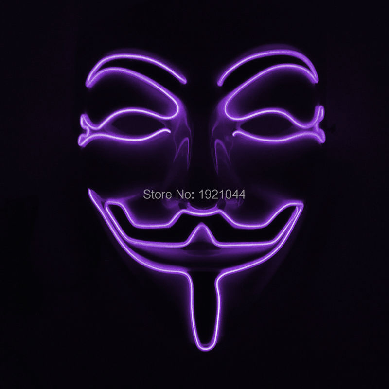 Voice Controller EL Wire Glowing Mask Lighting Color Purple Fashion Mask for Halloween Mask Night fluorescent mask