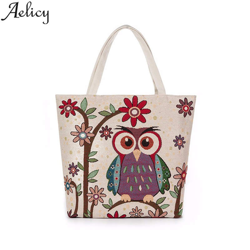 Aelicy luxury Canvas Shopping Bags Owl Printed Supermarket Bags Large Capacity Handbag Reusable Tote Bag Simple Shoulder Bag tote bag