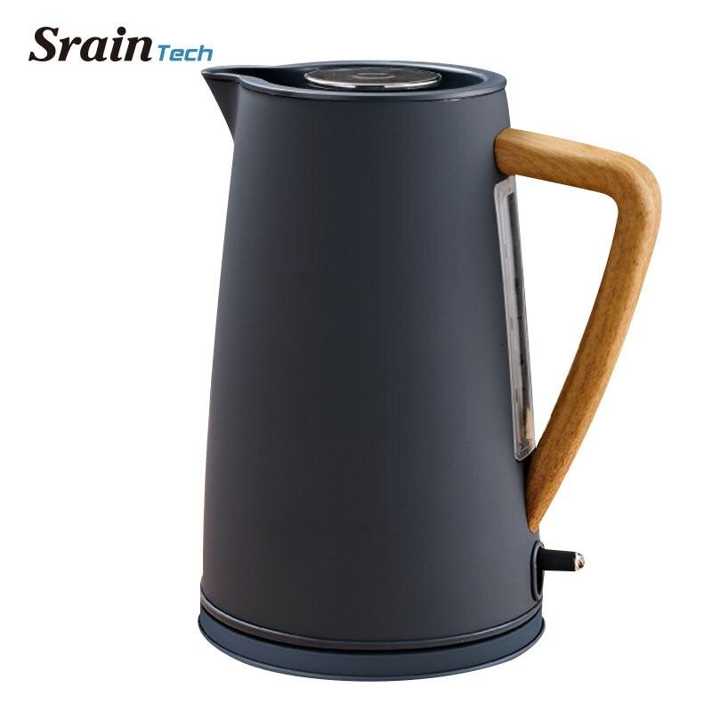 Sraintech 1800 W Acero inoxidable Hervidor eléctrico con plástico mango de madera 1.7L #304 grado alimenticio SS calentar el agua en 5 minutos