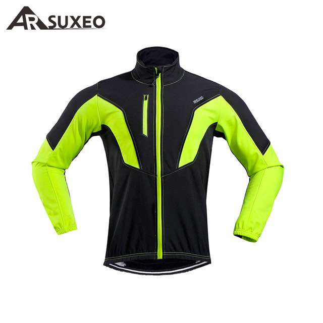 ARSUXEO Cycling Jacket Winter Thermal Warm Up Fleece MTB Bike Jacket Ciclismo Windproof Waterproof Cycling Coat