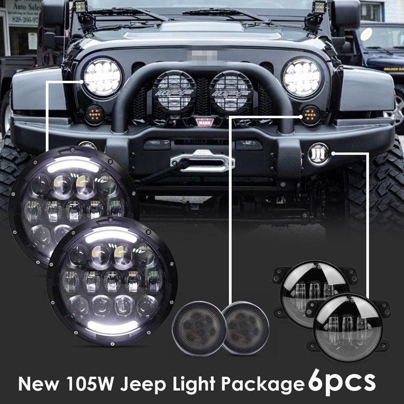 2xSmoke Lens Front Replacement Turn Signal Light & 2x105W 7inch LED Headlight Assembly& 2x4inch Fog Light for JEEP Wrangler
