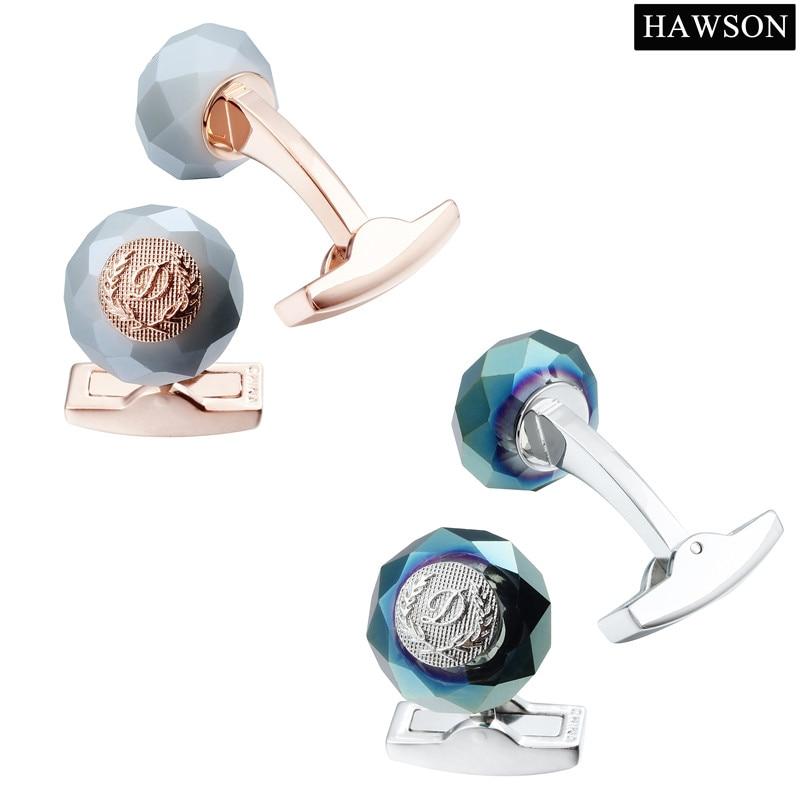HAWSON Classic Round Cuff Stone pautan Tentera Laut Cuff Buttons - Perhiasan fesyen - Foto 4