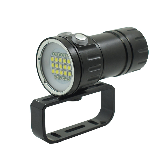 Diving Flashlight 18650 Torch Video Lamp Underwater Photography Light 15 x L2 White 6 x Red 6 x Blue LED Scuba Photo Fill Light