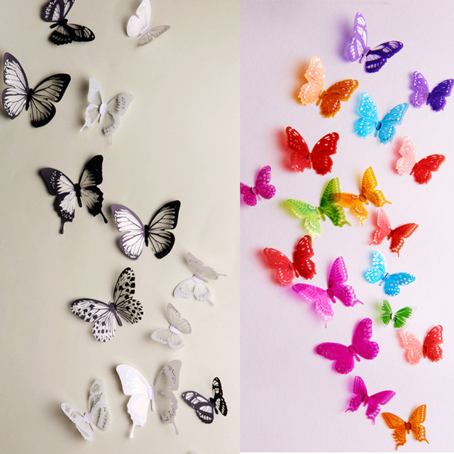 18 Unids/lote PVC DIY 3D de La Mariposa Pegatinas de Pared ...