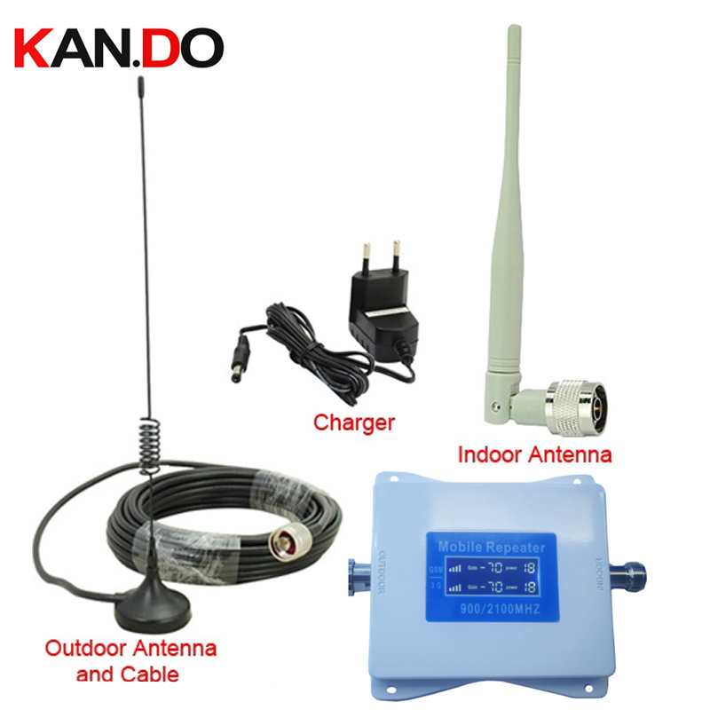 Cheap 2G+3G Repeater W/ Cale Antenna 22 Dbm 65dbi LCD Display Dual Bands GSM 3g Booster Repeater DCS 900 2100mhz 3g Booster