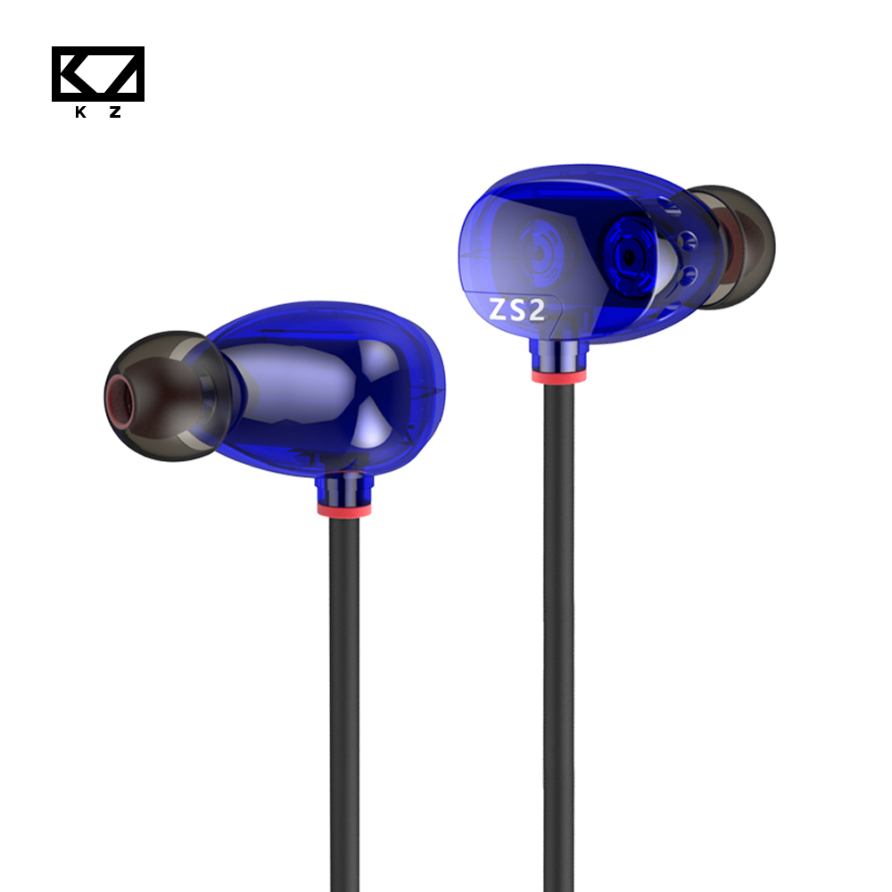 KZ ZS2 Ear Hook Earphone With/Without Mic + Dark Blue Noise Cancelling Earbuds For Smartphone Xiaomi Iphone Laptop Mp3 Ipad PC kz edr1 in ear earphone 3d stereo bass with metal noise reduction earbuds for smartphone xiaomi iphone oppo pc with without mic