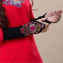 Винтажные тактические женские перчатки Harajuku Guantes в китайском стиле, женские перчатки с вышивкой на осень и зиму
