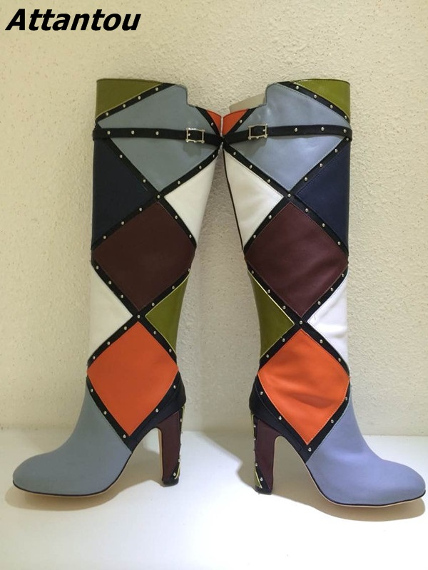 Trendy Design Color Matched Block Heels Knee High Boots Classy Women Buckle Rivets Decoration Chunky Heel Long Boots Hot Selling trendy metal and rhinestones design women s knee high boots