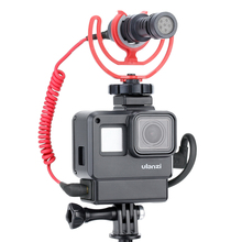 ULANZI V2 GoPro Vlogging Case Frame Housing Shell Cage with Cold Shoe Mount for Hero 7 6 5 to Boya Videomicro Microphones