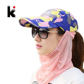 Summer Visor Sun Mesh Hat Women Can Folded Cap Summer Hats For Women With Neck Protection Baseball Hat For Men 1