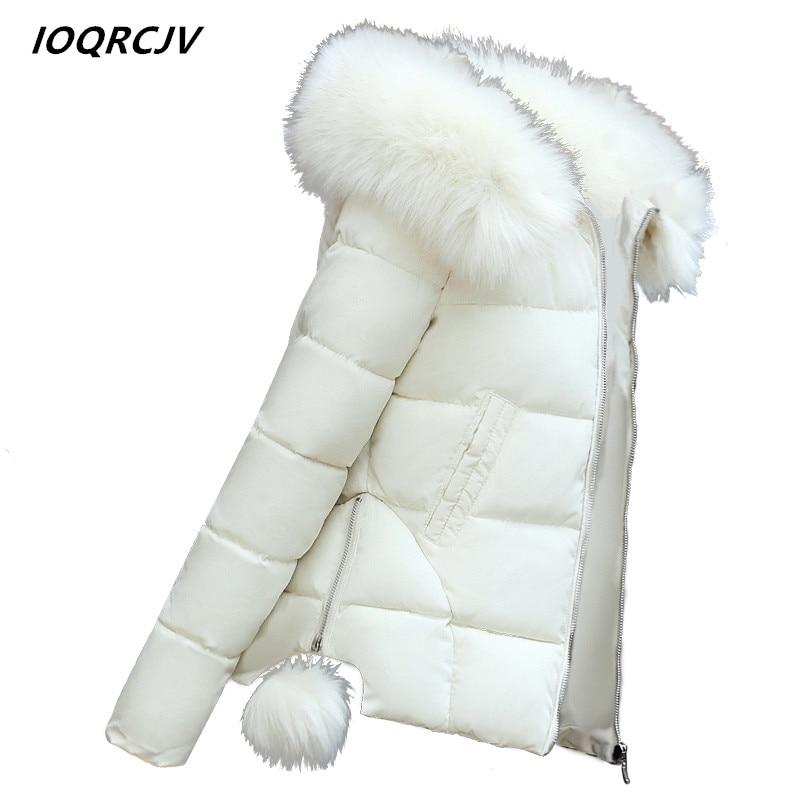 2018 Fur Collar Winter Jacket Women Coats Artificial Raccoon Hair Collar Female   Parka   Cotton Solid Hooded Coats Short Ladies S16