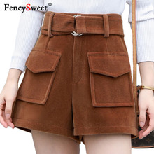 Fencysweet Korean Style Woolen Shorts Winter Thicken Warm Women Plus Size Booty ShortsHigh Waist Wide Leg Short Pants Black 2XL