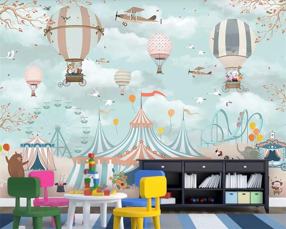 Купить с кэшбэком beibehang Large 3d wallpaper cartoon hot air balloon airplane animal puppy circus playground background wall 3d wallpaper mural