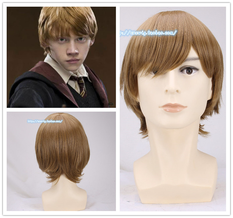 1pcs Ron Weasley Cosplay Brown Wig Comic Con Cosplay Hair Ronald Bilius Role Play Costumes Wigs + Wig Cap