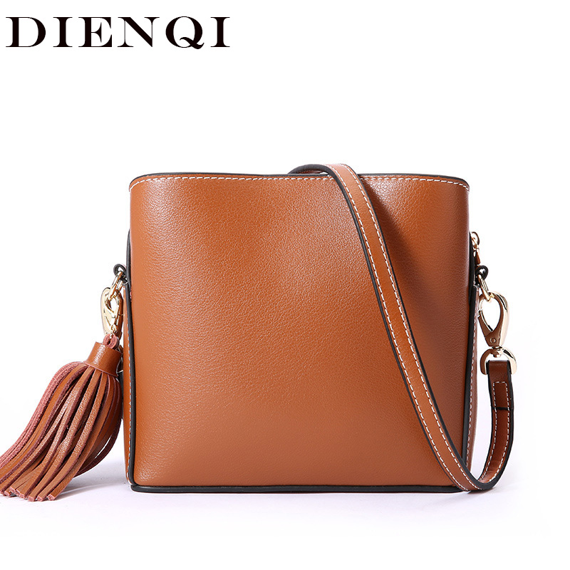 DIENQI New Arrival Genuine Leather Women Bags Fashion Tassel Shoulder Bags Small Cow Leather Handbag Messenger Crossbody Bags 100% genuine leather women handbag 2017 new commuter type fashion handbag crossbody shoulder handbag women messenger bags