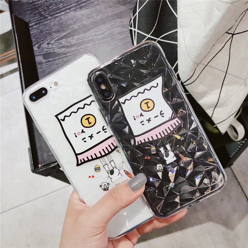 ProElite Cute Cat Soft TPU Case for iPhone X 8 8 Plus Water Wave Cover 3D Diamond Pattern Capa for iPhone 7 7 Plus 6 6S 6 Plus