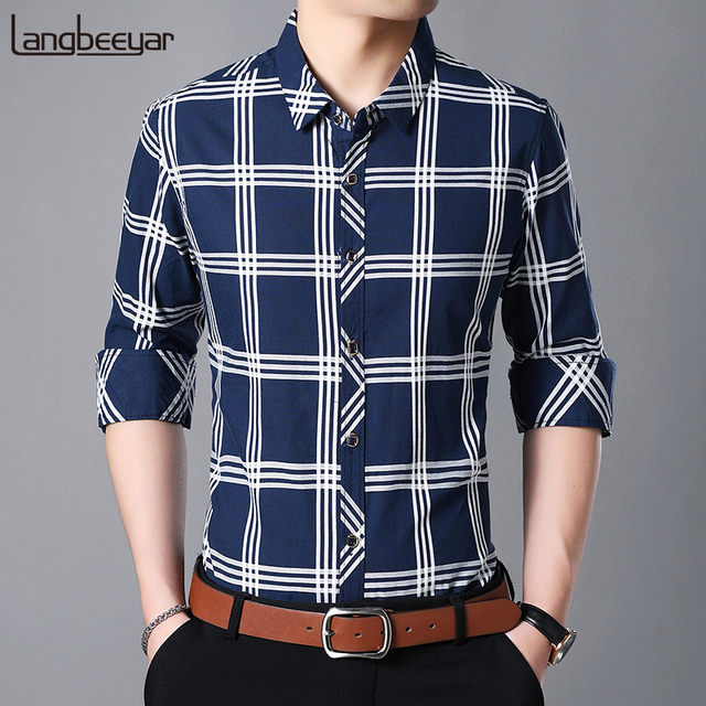 b3c18abb 2019 Fashion Brand Shirt Men's Plaid Slim Fit Street Wear Long Sleeve Dress  Shirts Checkered Button Up Casual Mens Clothing