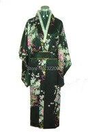 Historia Shanghai venta caliente Vintage Estilo Japonés Japón Vestido De Satén de Seda Del Kimono de Yukata de Noche Vestido de Las Mujeres Negro color H0037