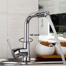 360 Поворотный Новый Дизайн Носик Кухня Раковина кран бортике краны польский хром отделка горячей и холодной воды смеситель поток носик