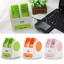 Mini USB Small Fan Cooling Portable Desktop Dual Bladeless Air Conditioner Fans Summer