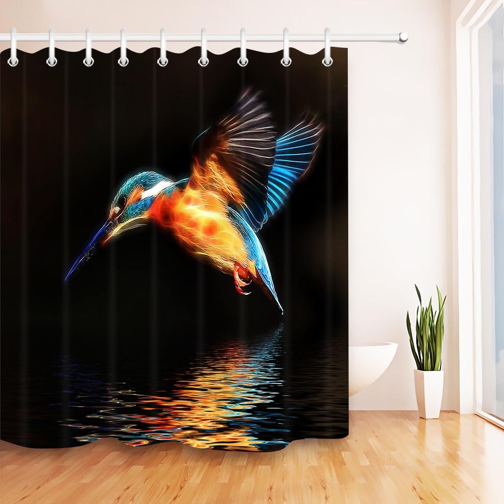 "African Girl Hummingbird Butterfly Bathroom Waterproof Fabric Shower Curtain 71/"""