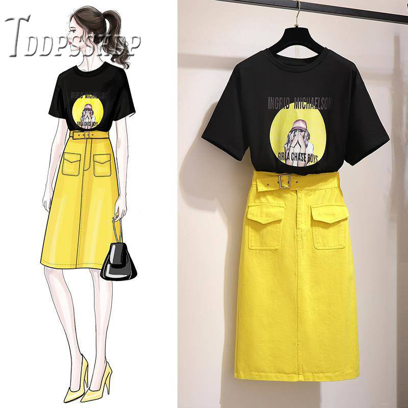 2019 Summer Women Sets Black T Shirt And Yellow Skirt Female Sets