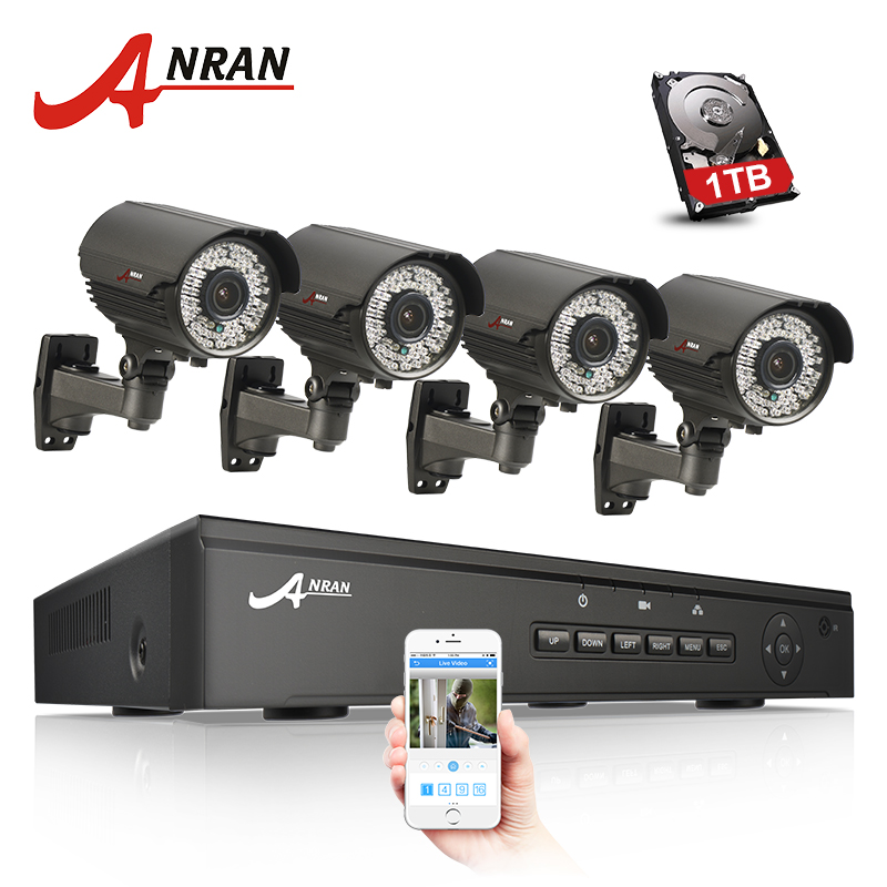 ANRAN 4CH 48V NVR CCTV System POE Onvif 1080P HD H.264 Waterproof Varifocal 2.8-12mm POE IP Camera Security Surveillance System 2014 sale 4ch onvif full hd 48v real poe 80 100m nvr kits with 720p varifocal 2 8 12mm lens ip cameras p2p cloud service