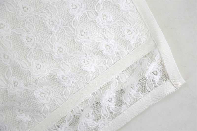 Новое поступление Мода 2018 женское белое платье без бретелек с перекрещивающимися вырезами кружевное Бандажное Платье облегающее коктейльное платье платья для вечеринок Vestidos