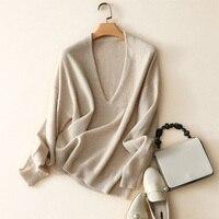 2018 Новый осень зима Однотонный свитер джемпер пуловер с длинным рукавом Soft 100% кашемировые свитера глубоким v образным вырезом вязаный Тянут