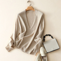 2018 New Autumn Winter Solid Sweater Jumper Pullover Long Sleeve Soft 100% Cashmere Sweaters Deep V Neck Knitted Pull Femme