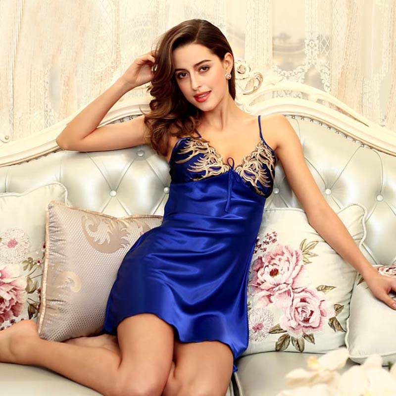 Jewelblue Women Silk Spaghetti Strap Gown Bathrobe Sexy Charming Temptation Lingerie Sleepwear   Nightgowns     Sleepshirts   One Size