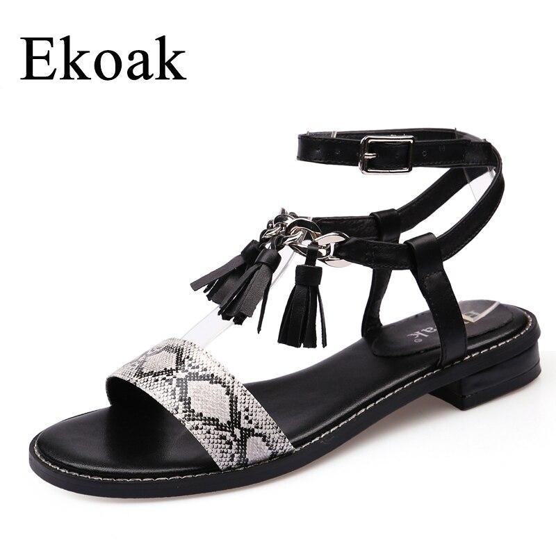 Ekoak New 2017 Fashion Women Gladiator Sandals Summer Ladies Party Dress Shoes Woman Square heel Cross-tied Beach Shoes Sandals phyanic platform women sandals 2017 new summer gladiator sandals beach flats shoes woman hook