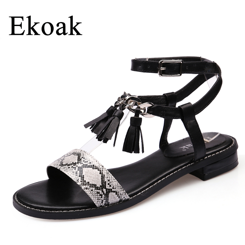 Ekoak New 2018 Fashion Women Gladiator Sandals Summer Ladies Party Dress Shoes Woman Square heel Cross-tied Beach Shoes Sandals купить
