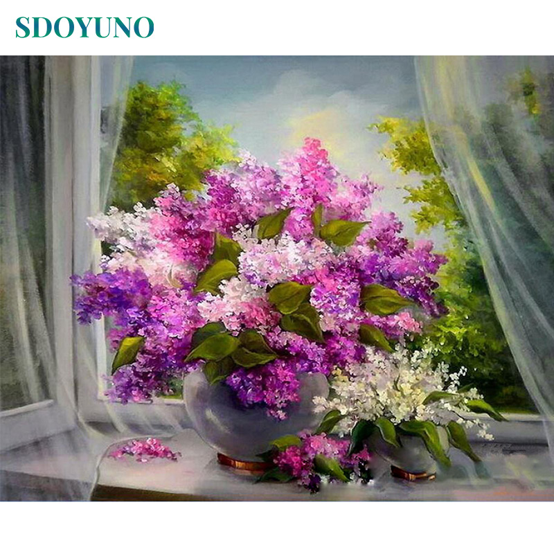 SDOYUNO 60x75cm Painting By Numbers Flowers DIY Frame Pictures By Numbers Room Decoration Home Decor Digital Painting