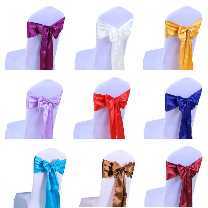 50pcs lot Satin Fabric Chair Bow Sashes Cover For Wedding Chairs Knot Decoration Party Banquet Hotel