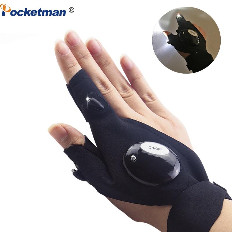 LED Flashlight Cycling Gloves 2 LED Flashlight Torch Magic Strap Glove, For Repairing Fishing Camping Hiking Handy Mechanic Tool