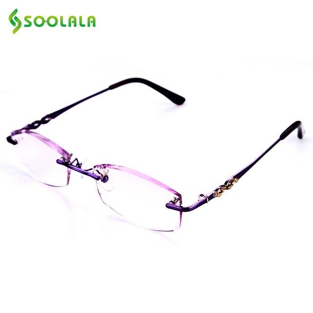e4a8e5cc96be SOOLALA Titanium Rimless Reading Glasses Diamond Cutting Glasses Clear  Anti-fatigue Eyeglasses +1.0 +1.5 +2.0 +2.5 +3.0 +3.5