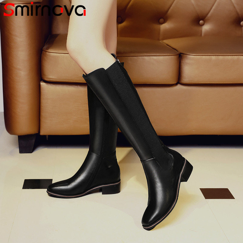Smirnova 2018 fashion autumn winter shoes woman square toe knee high boots women low heel genuine leather prom ladies boots пуховик мужской adidas helionic ho jkt цвет темно синий bq1998 размер xxl 60 62